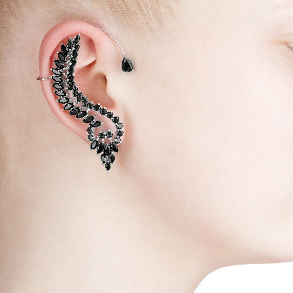 Каффы комплект на 2 уха из серебра (кафф+серьга)